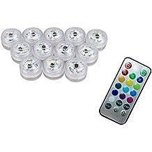 12 x LED Luz Sumergible con mando a distancia, Multi Color Lámpara Impermeable Subacuática Acento Luz Para Estanque Acuario Base del Florero Navidad Fiesta Boda [Clase de eficiencia energética A+]