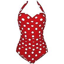 FEOYA - Bañadores Mujer Reductores Traje de Baño de una pieza Estampado Lunares Ropa de Natación Vintage Retro Bikinis Swimsuit para Playa - Rojo Negro Azul - Talla asiática S M L XL