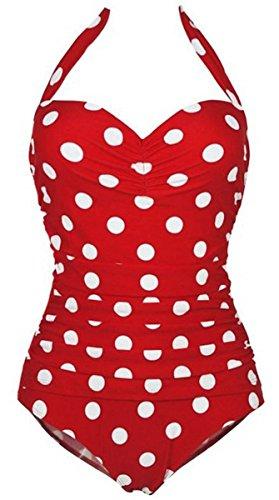 FEOYA - Bañadores Mujer Reductores Traje de Baño de una pieza Estampado Lunares Ropa de Natación Vintage Retro bikinis Swimsuit para Playa - Rojo - Talla asiática XL (ES 38)