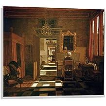 Kunst für Alle Image sur verre: Emanuel de Witte Interieur mit einer Dame am Virginal, image de haute qualité, impression d'art brillante sur verre pur, 80x60 cm