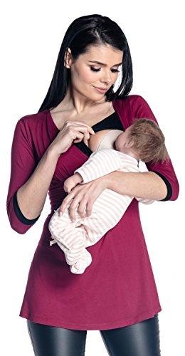 Zeta Ville - Damen Zweilagiges Still Top Schwangerschaft Kontrastdetails - 950c (Purpur & Schwarz, EU 42, XL) (Top 3/4-Ärmel-empire)