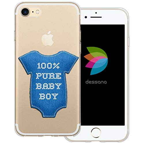 dessana Baby transparente Schutzhülle Handy Case Cover Tasche für Apple iPhone 7 Junge Strampler