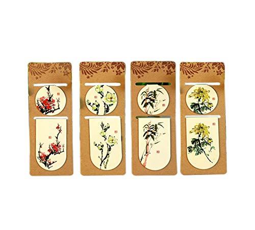 Chinesischen Stil bemalte Pflanze magnetische Lesezeichen für Männer Frauen, 8 Stück zufälliges Muster -