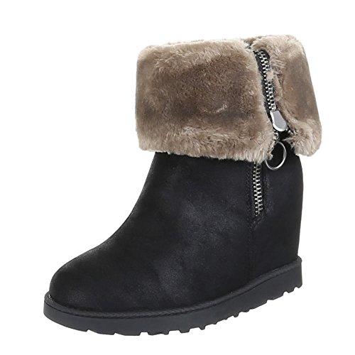 Damen Schuhe Stiefeletten Warm Gefütterte Boots Schwarz 38 YDjnpVyfm