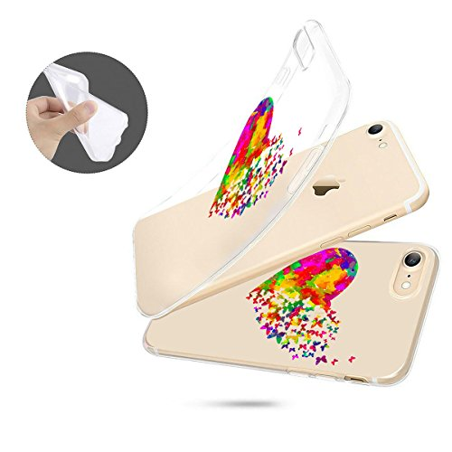 finoo | iPhone 8 Weiche flexible Silikon-Handy-Hülle | Transparente TPU Cover Schale mit Motiv | Tasche Case Etui mit Ultra Slim Rundum-schutz | Tattoo girl blond Watercolor heart butterflies