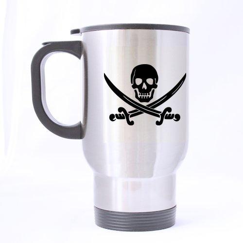 Le crâne pirate Caraïbes étanche personnalisé Mug de voyage-Bouteille de sport-Argent-Tasses à café Bureau tasse 14 Cl Home Deux côtés imprimés