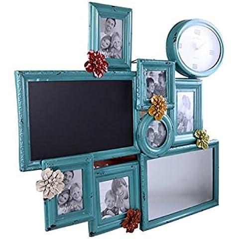 GYN Marco Americana creativo rústico antiguo Nostalgia decoración de jardín de hierro forjado de la foto con flores y el reloj de la decoración del