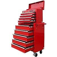 133US PRO TOOLS Rosso Meccanica degli attrezzi cassetta degli attrezzi Rullo per 9cassetti scorrevoli con cuscinetti a sfera