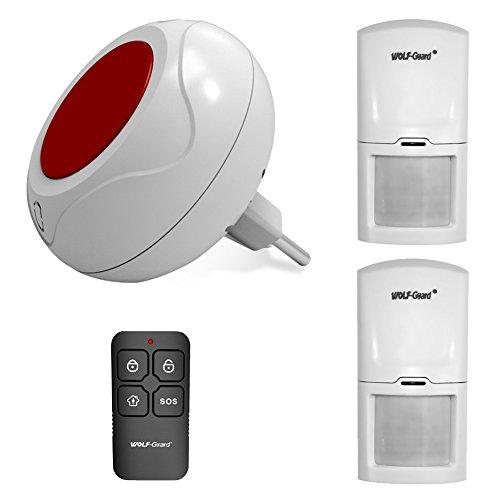 Sistema de alarma en directo con sensor de movimiento Wolf Guard, sirena estroboscópica interior de 80 dB, mando a distancia