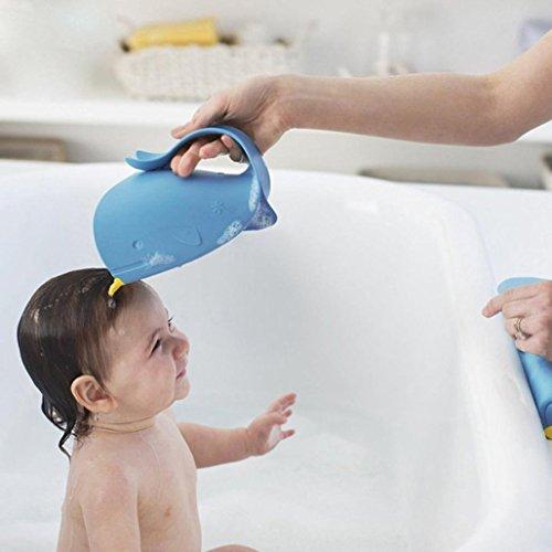 Upxiang Haarspülbecher, Waterfall Rinser Baby Shampoo Cup Blau Cartoon Whale Badewasser Löffel von Upxiang