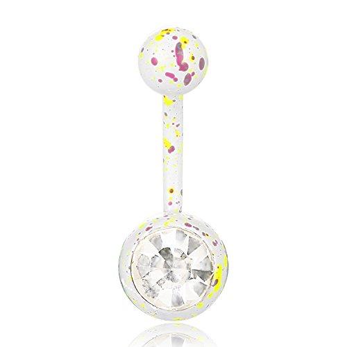 BODYA Bling Edelstahl pink gelb Farbklecks Bauch Button Ring Piercing Schmuck Bauchnabel Barbell Splatter Studs