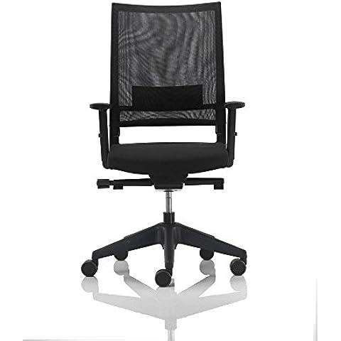 Vaghi Expo Quick Sedia operativa ufficio con braccioli schienale rete nero – sedile tessuto ignifugo nero