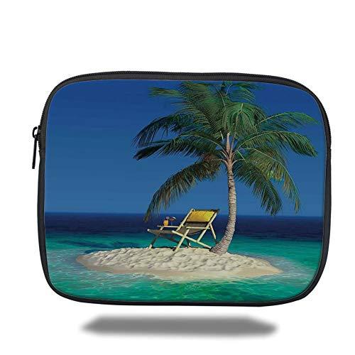 Preisvergleich Produktbild Laptop Sleeve Case, Seaside Decor, Chair Under a Palm Tree on a Small Uninhabited Tropical Island Clear Ocean Photo, Green Blue Yellow, Tablet Bag for Ipad air 2 / 3 / 4 / mini 9.7 inch