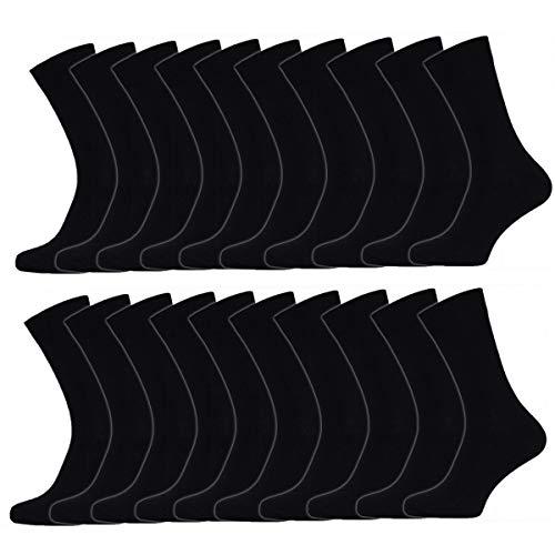 Occulto Herren Business Socken Baumwolle in verschiedenen Farben (10er PACK) (43-46, 20 Paar Schwarz)