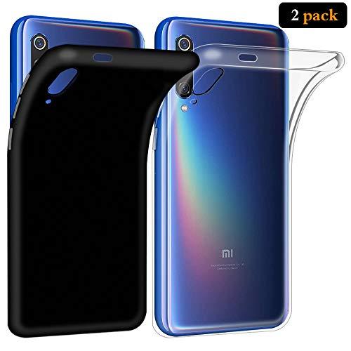 ANEWSIR Funda para Xiaomi Mi 9, [ 2 Pack ] Negra + Transparente, Slim Silicona Case Cover Protectora Duradera para Xiaomi Mi 9 Funda