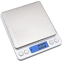 Ewolee Mini Báscula Digital de Bolsillo 0.01-500g, Balanza de Alimentos Multifuncional, Peso de Cocina con 2 Bandejas de Pesaje , Color Plata (Baterías Incluidas)