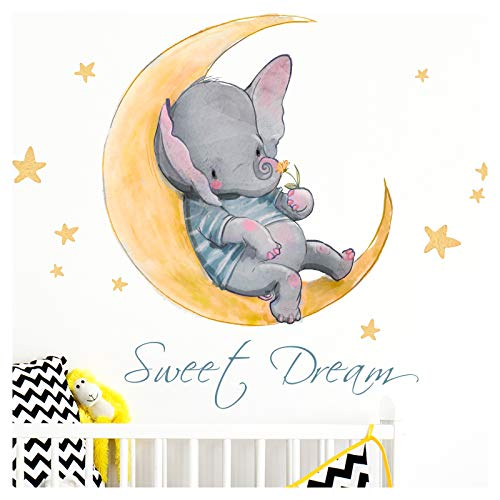 Little Deco Pegatina Elefante & Saying Sweet Dream I A4-21 x 29,7 cm I Moon & Stars Wall Pictures Tattoo Cuarto Niños Animales Deco Baby Room DL171