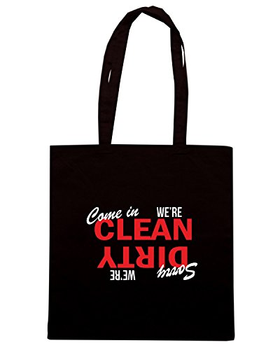 T-Shirtshock - Borsa Shopping BEER0197 Come In We re Clean Sorry We re Dirty Nero