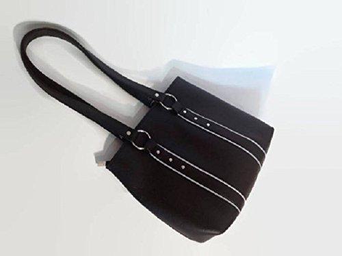 Faux Leather Black Shoulder Bag - handmade-bags