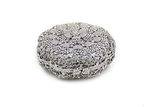 Damen Abendtasche Wasser-Diamant-Inlay Diamant-3D-Stereo-Blumen-Diamant-Mappen-Braut-Beutel-beweglicher Partei-Beutel Silver