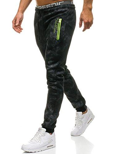 BOLF - Pantalon Jogger de Sport Camo Homme - Red Fireball W1556 Noir XXL [6F6]
