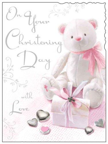 Jonny Javelin Card Co Jonny Javelin Card (JJ1221) On Your Christening Day With Love - Pink Teddy - Flittered Finish