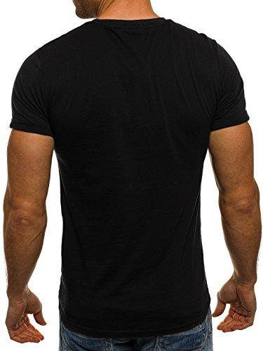 OZONEE Herren T-Shirt mit Print Shirt GLO STORY 7642 Schwarz
