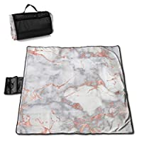 """MZZhuBao Metal Rose Gold Veins On Gray Marble Extra Large Picnic Blanket 57"""""""" x59 Outdoor Waterproof Sand Free Beach Blanket Mat with Tote Bag for Or Travel"""