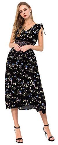 Wantdo Damen Langes Kleid V-Ausschnitt Lässig Bohemian Style Plus Size (Kurzes Kleid Plus Size Frauen)