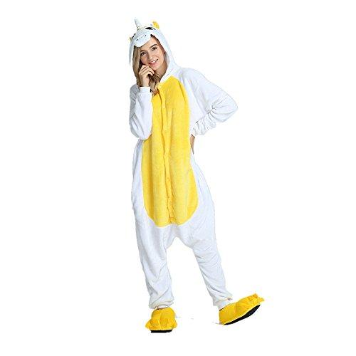 Pyjama mit Flügel Erwachsene Unisex Tier Nachtwäsche Cosplay Kostüm Flanell Neuheit Kostüm (S(148-158cm), Gelb) ()