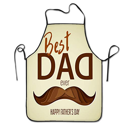 Funny Personality Apron Best dad Ever d Paper Cut Hipster Beard Mustache Design Happy Father s Day Concept Greeting Card Carving Perfect Chef Kitchen Aprons 20.4 * 28.3 inch