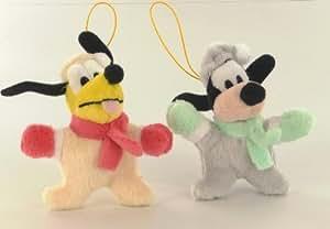 Disney Micky Maus Pack 2 Plüsch Straps Pluto und Goofy (Winter)