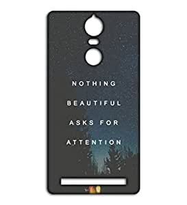 Happoz nothing beautiful quote Lenovo Vibe K5 Note accessories Mobile Phone Back Panel Printed Fancy Pouches Accessories Z621