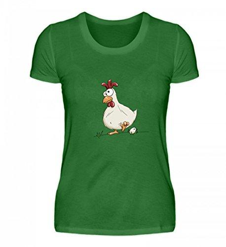 Shirtee Hochwertiges Damen Organic Shirt - Verrücktes Huhn mit Ei - für Alle Bauern, Landwirte und Andere Menschen, Die Hühner Lieben Kelly Green