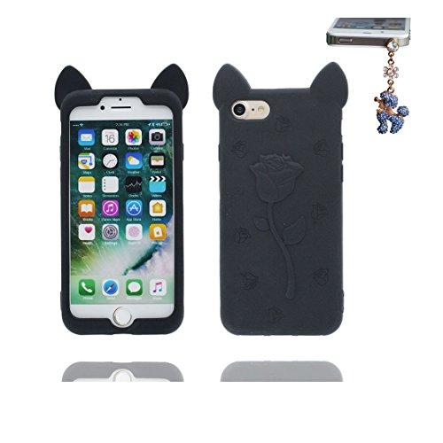 """iPhone 6 Plus Coque, 3D Cartoon poulet chick Cover iPhone 6s Plus étui (5.5"""") TPU souple Shell iPhone 6 Plus Case (5.5"""") poussière glissement résistant aux rayures et Bouchon anti-poussière Noir"""