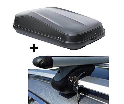 Dachbox schwarz VDP JUFL320 stabiler Dachkoffer abschließbar + Alu-Relingträger Dachgepäckträger für Citroen C5 Break (Kombi) RE 01-04