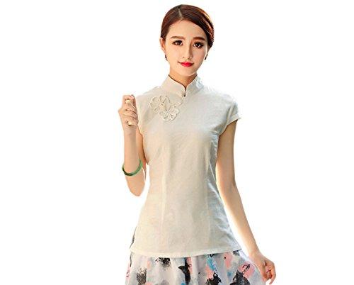 ACVIP Femme Veste de Tang à Manche Courte T-Shirt en Coton de Chanvre Chemise Blouse Style Chinois Beige