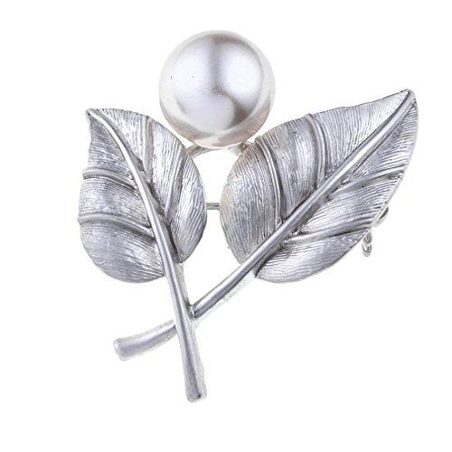 Yazilind Jahrgang einfache Blätter Perle Brosche Silber Intarsien mit Strass Krawatte Broschen böhmischen Schmuck für Frauen