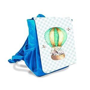 Kinderrucksack in Blau mit Tiere im Heißluftballon