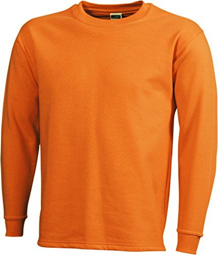 James & Nicholson Herren Round Sweat Open Hem Sweatshirt Orange (Orange)
