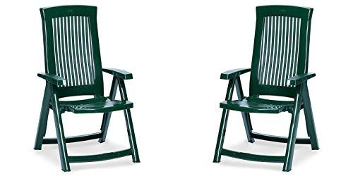 Grün Gartenmöbel (2 Gartenstühle aus Kunststoff Klappsessel Balkonstuhl Sessel Gartenmöbel mehrere Farben (Grün))