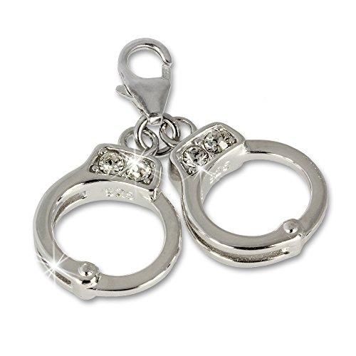SilberDream Charm Handschellen Zirkonia 925 Sterling Silber Charms Anhänger für Armband Kette Ohrring FC671