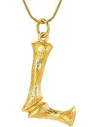 a0d8eb11da94 FOCALOOK Damen Anhänger Halskette 26 Buchstaben A B C mit 1,2mm 55cm  Schlangenkette Bambus Stil Coole Schmuck Gold…