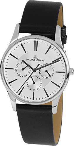 Jacques Lemans Mixte Multi-Cadrans Quartz Montre avec Bracelet en Cuir 1-1929H