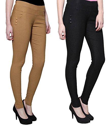 Kiba Retail Women New Stylish Party Wear Plain Jegging Combo With Cross...