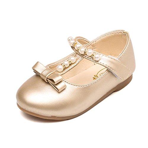 Bebe Fille Princess EU 21-35 Perle Chaussures Mary Jane Ballerine pour soiree ceremonie mariage /communion /baptême (21, Or)