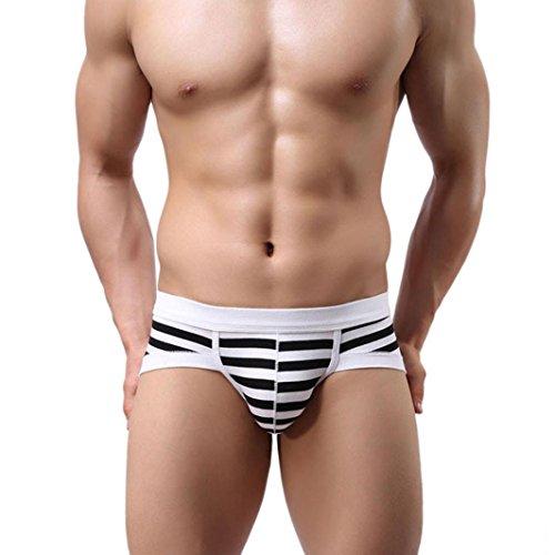 Herren Boxershort Xinan Stripe Baumwoll Unterwäsche Soft Slips (XXL, Schwarz) -