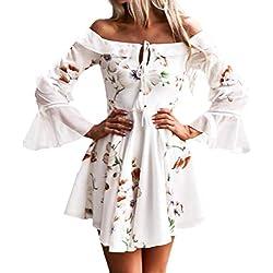 ❤️ Mini Vestido de Hombro para Mujer,Vestido Largo de Manga Larga Boho Mini Vestidos de Noche Fiesta de Playa Absolute