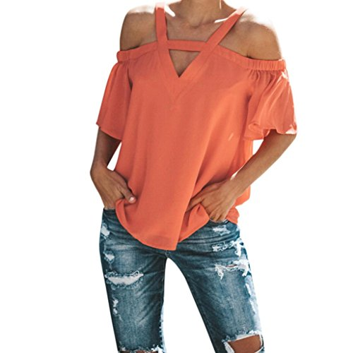 TUDUZ Damen Sommer Kurzarm Schulterfrei Tops T-Shirt V-Ausschnitt T-Shirt Bluse(L,Orange)