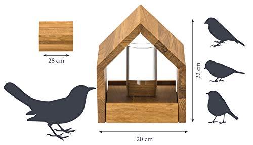 Luxus-Vogelhaus 46601e Eiche-Vogelfutterhaus mit Ständer, Satteldach, Futtertablett und Silo - 7